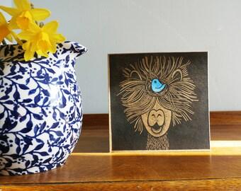 Alpaca with a Bluebird, Easter, Original Hand Printed Card, Linocut Card, Blank Greeting Card, Brown Kraft card,  Free Postage in UK,