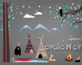 First Nations TeePee Camp with Canoe, Campfire, Eagle, Black Bear and Mountains - Children Wall Stickers  - PLFN010