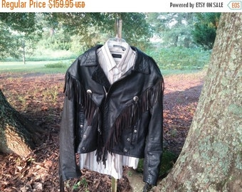 Vintage Wilsons Black Leather Fringe Jacket New Orleans Open Road Biker Motorcycle New Orleans 159.95 LARGE