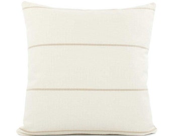 Cream and Tan Striped Throw Pillow Cover 18x18, 20x20, 22x22 or Lumbar, Cream Beige Pillow, Woven Textured Pillow, Accent Pillow, Streamline