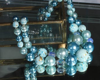 Soft Shades of Blue Multi Strand Bead Necklace, Aqua Blue Splatter Bead Double Strand Necklace