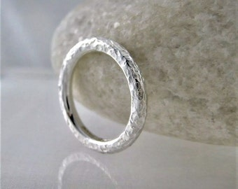 Sterling Silver Sparkly Hammered Ring Size O - Designed And Handmade By CMcB Jewellery UK