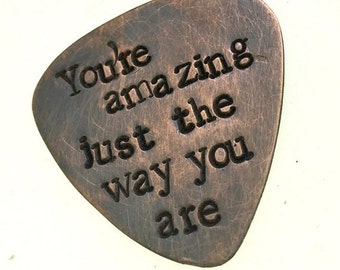Custom Bronze Antiqued Guitar Pick- Music Teacher Gifts, Musician Quotes- Guitar Picks for Guys and Girls