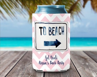 Personalized Can Coolers - Beach Can Coolers -  Bachelorette Party Favors  - Huggers Beer Can Coolies