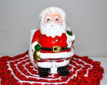 Vintage Santa Planter / Candy Cane Holder Lefton