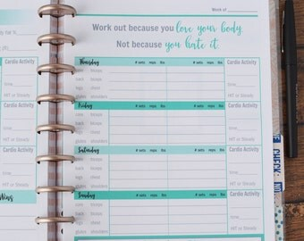 52 Wk Happy Planner FITNESS PLANNER Printable workout insert pages Teal  MAMBI, Create365, 7 x 9.25 Classic Workout tracker