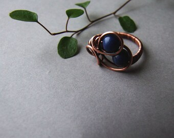 Night Ring, Elvish Cobalt Ring, Dark Blue Gemstone Ring, Elvish Jewelry, Blue Fantasty Night Ring