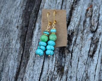 Dangle Earrings, Drop Earrings, Turquoise Colored Earrings, Magnasite Earrings, Colorful Earrings