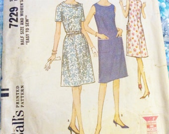 "Vintage McCall's 7229 Secretary Dress Sewing Pattern 35"" Bust Half Size"