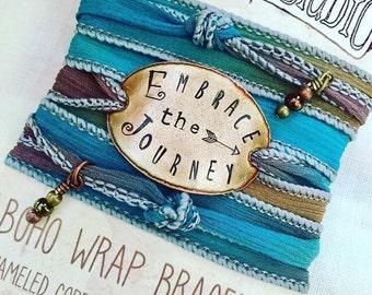Embrace the Journey, Boho Wrap Bracelet, boho bracelet, silk wrap bracelet, wanderer, happy camper, boho, bohemian jewelry, hiker, campin