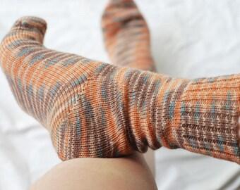 Wool Socks, Handmade, Hand Knitted, Superwash, Beige, Pumpkin Orange, Brown, Teal Blue, Stripes