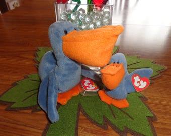 RARE! Retired Ty Beanie Babies Matched Set Scoop w/Teenie Scoop the Pelican