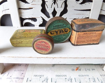 Antique  French Tiny  Tin Boxes  Instant Collection, 1910s