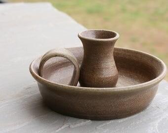 Salt Glazed Pottery Candlestick Holder Seagrove NC Traditional Pottery