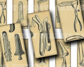 Vintage Speculums Medical Tools Digital Download Collage Sheet 1x2 Domino Antique Old Surgery Anal Rectal Instruments Oddities Strange Weird