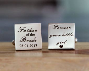 Personalized Stainless Steel Cufflinks Custom Engraved  - father of the bride cuff links  - Groomsmen Gifts