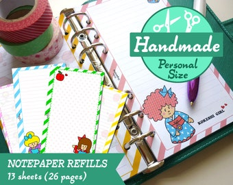 HANDMADE PERSONAL Kokeshi Girls Notepaper Refills Inserts Filofax, Kikki.K Medium Planner, Louis Vuitton MM Agenda