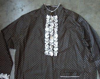 Vtg Cotton Floral Dot Ruffled Mandarin Collar Black Tuni Pajama Shirt Dress Unisex Mens Womens 1970s Large WELDON
