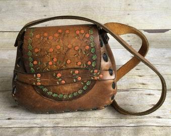 Vintage Leather Purse - Floral Tooled Bag