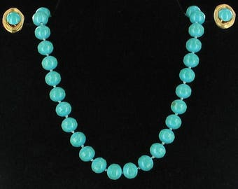 Vintage Vogue Birds Nest Glass Turquoise 10.5mm Knotted Bead Necklace Earrings