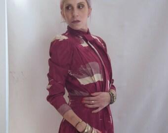 vtg 70s chic graphic printed drape bias cut ascot ties midi SHIRT dress s, m