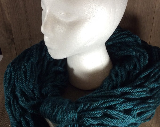 Super Bulky Arm Knit Infinity Scarf ~ Montpellier Peacock