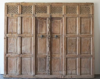 Architectural Salvage Wall Panel Antique Panelling Solid Teak Panneling Old Door Shipping Included in the U.S.