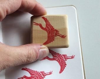 Tampon Grue Japonaise, gravé à la main, en gomme, monté sur bois