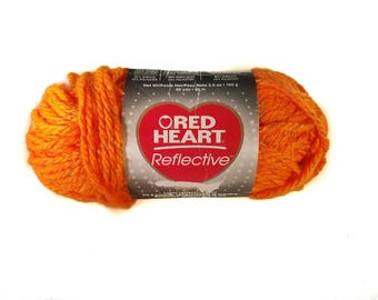 Red Heart Reflective Yarn, 3.5 oz (100 g), Color Neon Orange, Lot 6003 - Price Reduced