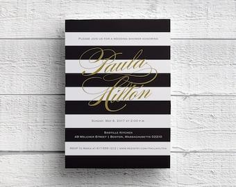 Black and Gold Striped Bridal Shower Invitation, Wedding Shower, Bridal Tea, JPEG, PDF, Template, Printable Tea Invitation, Invites