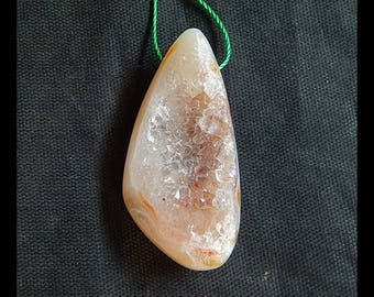 NEW!! Drusy Red Agate Gemstone Pendant Bead,36x17x8mm,7.1g(c0473)