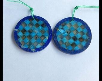 New Design,Blue Apatite,Labradorite,Lapis Lazuli Intarsia Cabochon Pair,34x2mm,14.8g