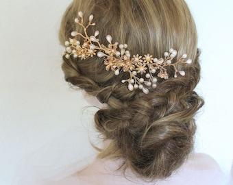 Gold Leaf Vine Twig Bridal Headpiece. Pearl Swarovski Crystal Boho Wedding Hair Comb. Gold Flower Bridal Headband.  ESTELLE