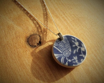 Tumbled China Pendant and Chain - home-made sea pottery, sterling silver, Spode - Tumbleworn