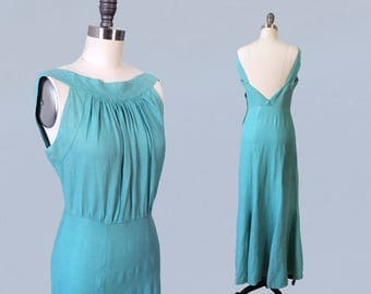 RESERVED--Rare 1930s Dress / 30s Cotton Maxi Gown / OPEN BACK / Cyan Blue Color!