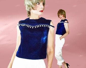Vintage Velvet Top - 1960s OOAK Blue Velvet Formal Shell - Hanukkah Holidays