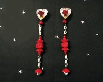 Retro Valentine Earrings - OOAK with Vintage Carved Lucite - Long Red & White Dangles
