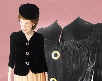 1940s Black Velvet Top - Womens Black Vintage Velvet Blouse - Rhinestone Buttons - Retro Velvet Evening Top - Wasp Waist - 40s Swing Era