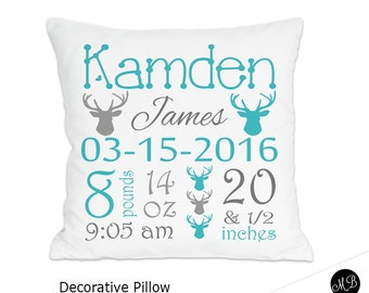 Baby girl or baby boy birth stats pillow personalized baby baby boy deer antler birth stats pillow personalized baby gift baby pillow name negle Choice Image