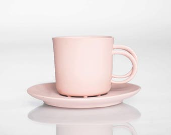 Espresso cup pink, delicate porcelain China mug with saucer