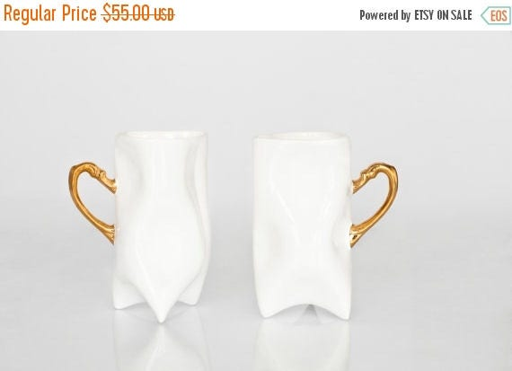 SALE Ceramic white and gold handbuilt cups. Porcelain mugs for coffee or tea.