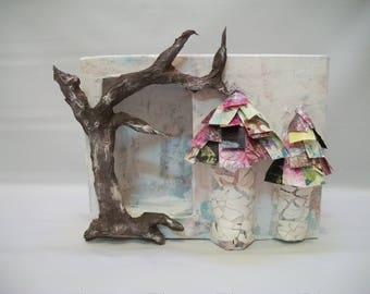 Craft Supplies, Mix Media Crafts, Paper Mache Shadow Box, Paper Mache Shrine to Decorate, Shadow Box to paint, Fairy House, Fairy Garden
