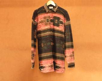 SOUTHWEST flannel 90s bright SLOUCHY ikat style TRIBAL pattern womens shirt