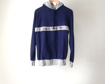 vintage 90s simple HEATHER GREY and navy blue CALIFORNIA hoodie sweatshirt