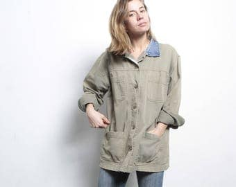 90s vintage denim faded olive green OXFORD denim contrast collar PACIFIC NORTHWEST style jacket coat shirt