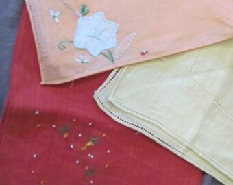 Lot of 3 Colored Vintage Antique Handkerchief Hankies Unused (Lot 17Z)
