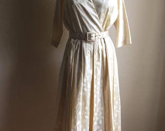 ELVintage Wedding 40s Pat Premo California Cream Cotton Dress • Stunning Party Wedding Dress