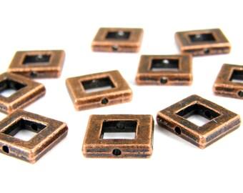 Copper Frame Beads, Antiqued Copper Picture Frame Beads, Copper Window Beads, Pewter Beads, Metal Beads (10) Copper B0005