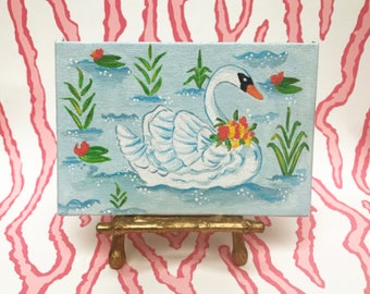 Swan Original Painting | Palm Beach Style | Chinoiserie | Bamboo | Lilly Pad | Water | Lake | Ballet