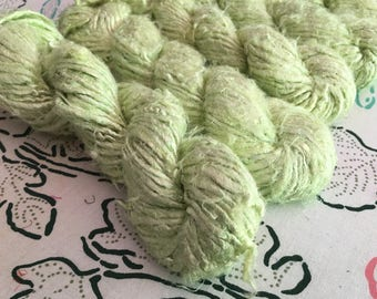 Recycled Banana Silk Yarn, Celery, Green, Bulky, Handspun, 3.5 oz / 100 grams, 40-50 yards, Upcycled, Knit, Crochet, Weave, Jewelry, Saori